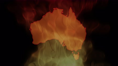cartografia : Fires in Australia. Video in motion vector illustration. Vídeos