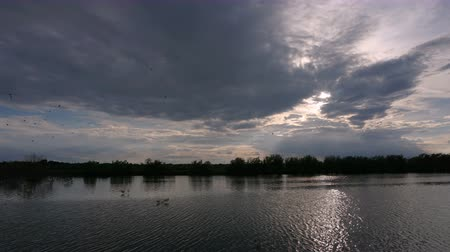 tornar : Movement of clouds over pond at sunset