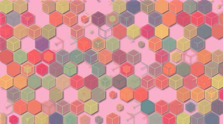 négyzet : 3D illustrations, abstract geometric backgrounds, light pink tones, colorful boxes