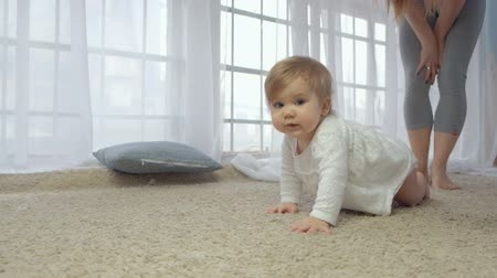 babygirl : Portrait of a crawling baby on the carpet in my room