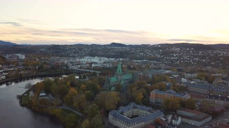 trondheim : Sunset over Trondheim. Panorama of the city, top view. Norway Aerial