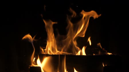 aglow : Fire in fireplace - close up slow motion