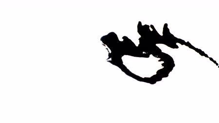 inkblot : Black Blot on white paper. Compositing slow motion reveal