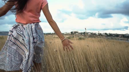 kafaları : Close-up of womans hand running through field, Slow motion. Stok Video