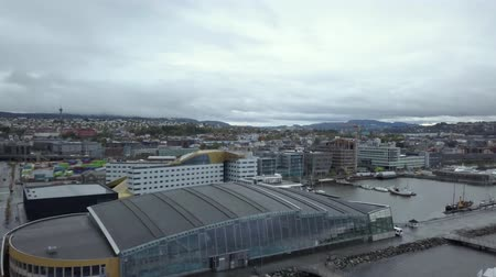 trondheim : Aerial View over Trondheim, Norway. Stock Footage
