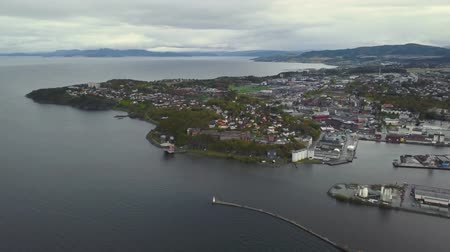 Aerial View over Trondheim, Norway. Filmati Stock