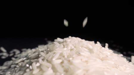 brown rice : Raw Rice grain falling. slow motion