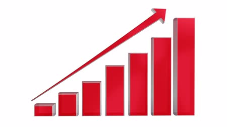 graph : Red 3d growing transparent business chart graph and arrow sign with luma matte, alpha, mask