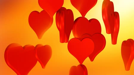 годовщина : Flying red hearts on golden background, wedding background animation, valentines day
