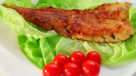 carne : Fried Fish dish - fish fillet, green salad and tomatoes Vídeos