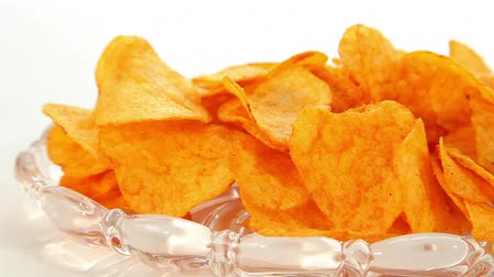 aureate : Party potato paprika chips, dolly shot Stock Footage