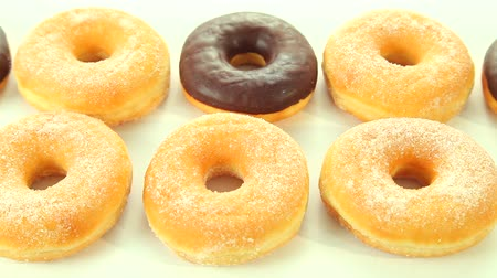 doughnut : Donuts on white background, dolly-shot Wideo