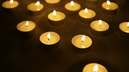 Candle light background, tea light candles decoration