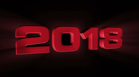 feliz ano novo : 2018, 3d red animation on black background