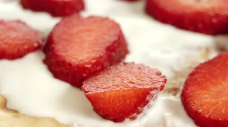 йогурт : Strawberry pancake with yogurt, delicious breakfast