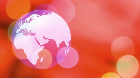 red symbol : World globe spinning pastel background Stock Footage