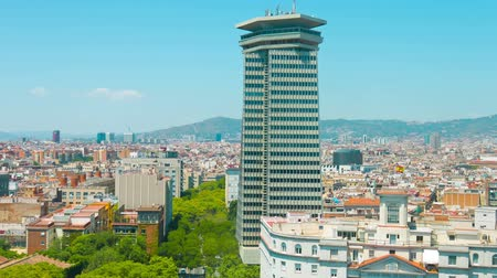 Каталония : Barcelona city panorama establishing shot typical Spanish building