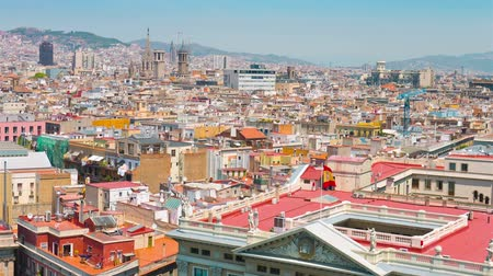 Каталония : Barcelona skyline view, Catalonia Стоковые видеозаписи
