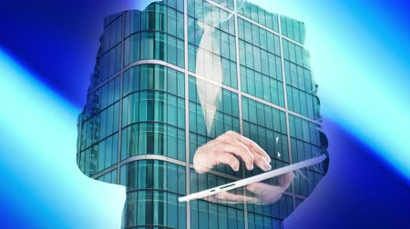 использование : Double exposure of businessman with tablet and London office building 4k