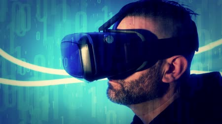 realidade : Futuristic concept man interacting virtual reality goggles Vídeos