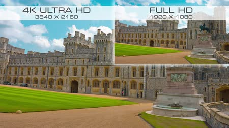 windsor : Compare video standard sizes 4K Ultra-HD vs Full HD Stock Footage