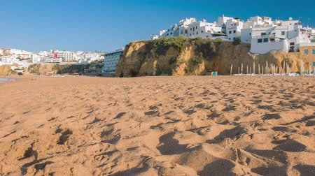 Portugal city Albufeira beach in sunny summer day