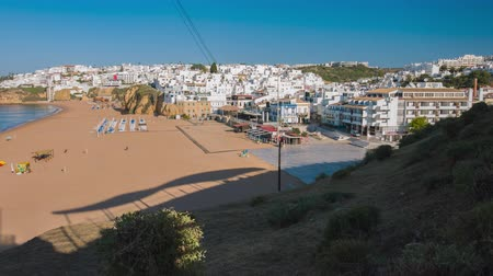 Atlantic ocean sandy beach in Portugal town Albufeira Wideo