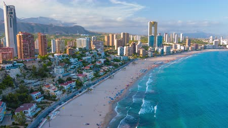 Spanish city Benidorm buildings and sandy beach Poniente