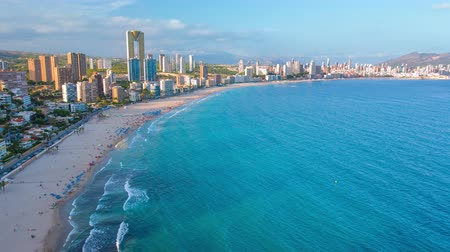 Benidorm aerial view, Poniente beach and city buildings