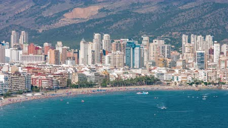 Benidorm city located on sunny Costa Blanca in Spain Wideo