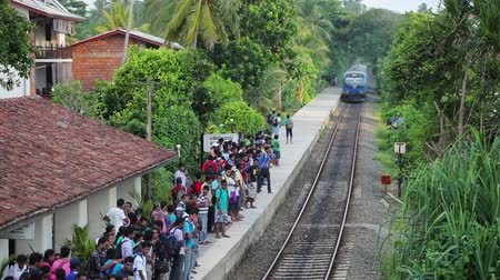 bentota : BENTOTA, SRI LANKA - APR 28: Train arrive to station with waiting people on Apr 28, 2013 in Bentota, Sri Lanka. Trains are becoming more popular transport due to railway improvement by government.  Stock Footage
