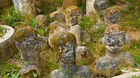 vientiane : VIENTIANE. LAOS - 13 DEC 2013: Stone statues stick up from ground  in Buddha park also known as Xieng Khuan sculpture park Stock Footage