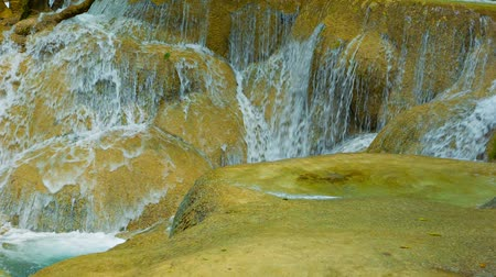 prabang : Video 1080p - Close-up of moving water. Kouang Si Waterfall. Laos. Luang Prabang Stock Footage