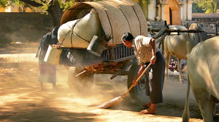 besom : BAGAN. MYANMAR - 11 JAN 2014: Locals sweep the area for future fairs