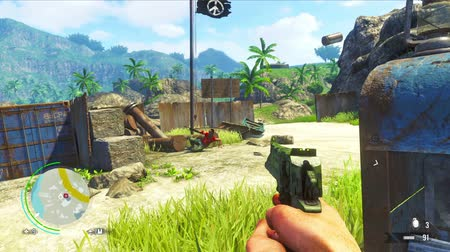 daleko : PHUKET. THAILAND - CIRCA JUL 2014: Episode of gameplay of computer game Far Cry 3 - one of the most popular games of the year