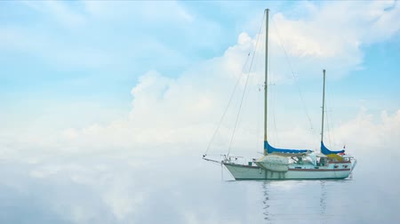 mraky : Video 1080p - Yacht in morning fog on a background of clouds