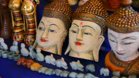 budha : 1920x1080 video - hand-made souvenirs on the counter of the market. Inle Lake. Myanmar