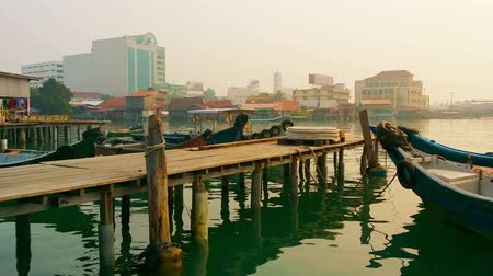 georgetown : Old wooden pier with boats. Malaysia. Penang. Georgetown