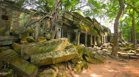 stáří : Video FullHD - Panning across heaps of cut stone rubble. mossy with age. inside the ancient walls of a temple compound at Angkor Wat near Siem Reap. Cambodia.