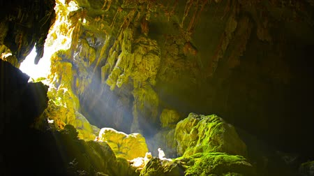 barlang : Video - Bright rays of sun beaming through the mouth of a natural cave in Vang Vieng. Laos. providing light for moss to grow on the rocks.