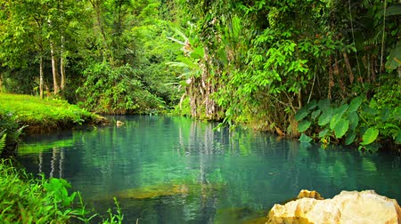 muz : 1920x1080 video - Beautiful natural greenery and crystal clear. blue. rippling water of Blue Lagoon in Vang Vieng. Laos.