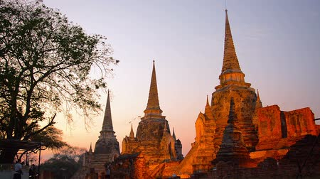 budist : AYUTTHAYA. THAILAND  CIRCA FEB 2015: Row of stupas. illuminated in shades of red from the setting sun at Ayutthaya Historical Park in Thailand. Stok Video