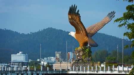 talapzat : Video 4k  Enormous. intricately detailed and hand painted statue of an eagle. with its wings outstretched. standing near a boat quay. Stock mozgókép
