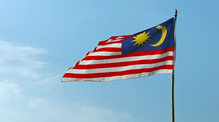 Video 1080p  Patriotic image of Malaysias national flag. with its red and white horizontal stripes. flapping in a steady breeze against a sunny. blue sky. Стоковые видеозаписи