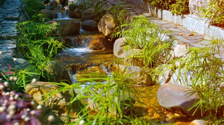 engineered : Video UltraHD - Water tumbles playfully over step after step of a multi-level. handmade waterfall with grasses swaying in a gentle breeze. Stock Footage