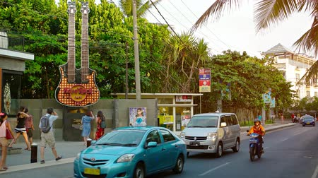 curbside : KUTA. BALI. INDONESIA - CIRCA JUL 2015: Hard Rock Cafe. located curbside along a major public road in Kuta. Bali. Indonesia.