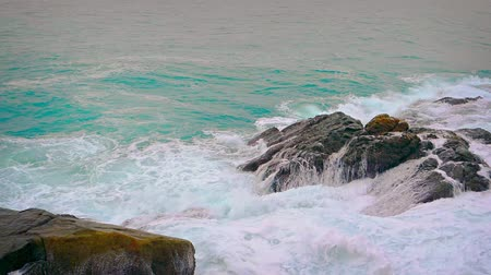 kullancs : Video 4k - Ocean waves wash over the barnacle encrusted surface of natural boulders on a rocky beach