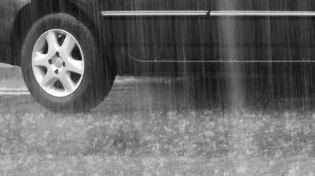 pneus : Rainfall in the city. Black car on wet asphalt. Video 1920x1080 Stock Footage