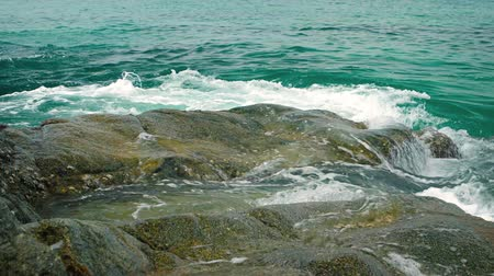 kullancs : Small waves of warm. tropical sea water wash over barnacle and algae encrusted rocks at a beach in Phuket. Thailand. Video UltraHD
