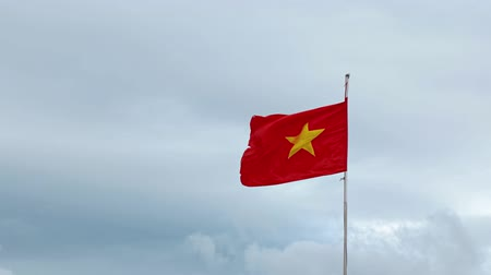 вьетнамский : Vietnamese national flag with its characteristic gold star on a red field flapping in the wind against an overcast sky.